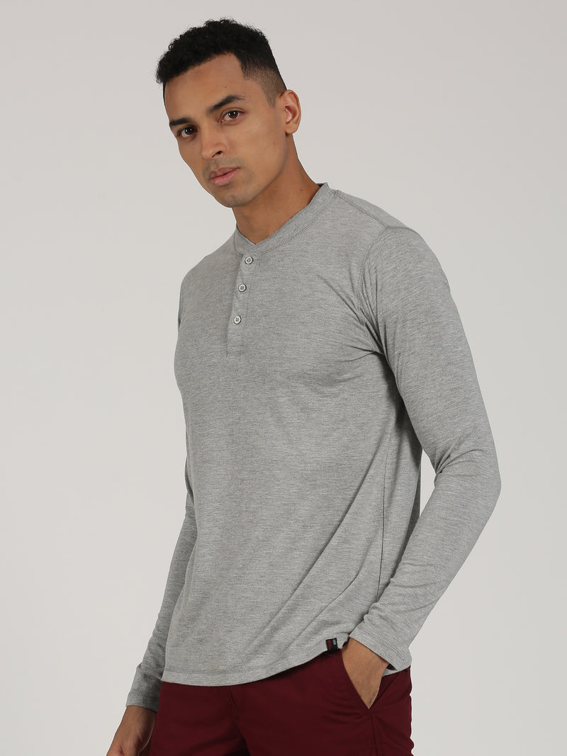 Light Grey Melange Plain Long Sleeve Casual T-Shirt