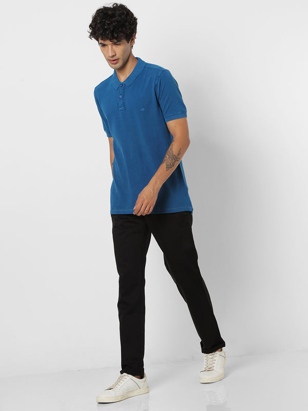 Blue Denim Plain Casual T-Shirt