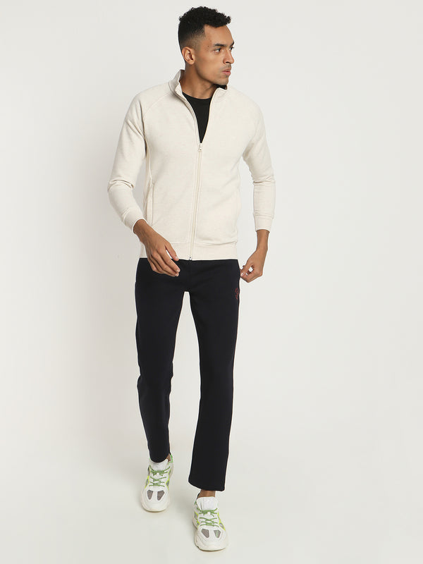 White Plain Zipped Sweatshirt