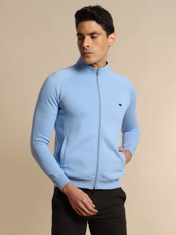 Blue Plain Zipped Sweatshirt