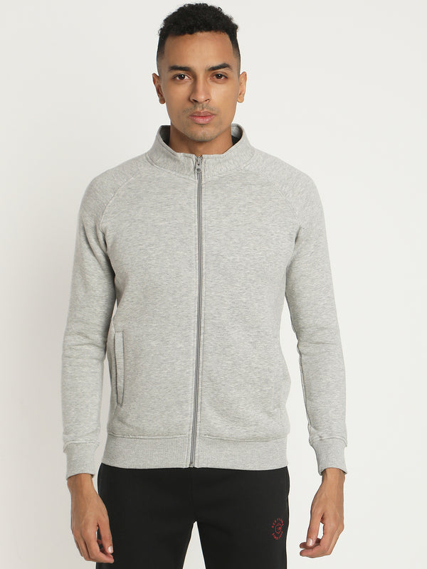 Grey Plain Zipped Sweatshirt