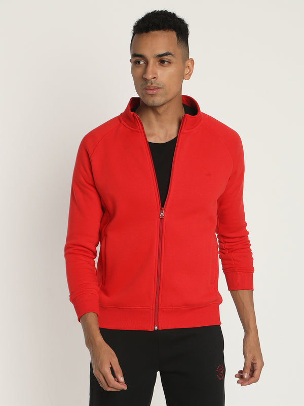 Red Plain Zipped Sweatshirt