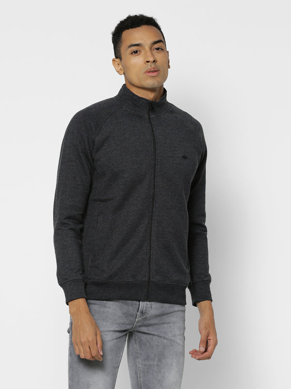Anthra Plain Zipped Sweatshirt