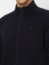 Navy Plain Zipped Sweatshirt