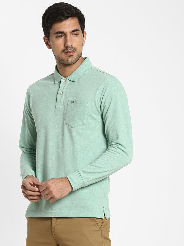 Green Melange Plain T-shirt