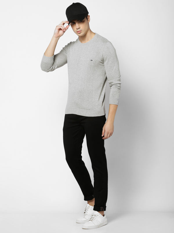 Grey Plain Crew Neck Sweater