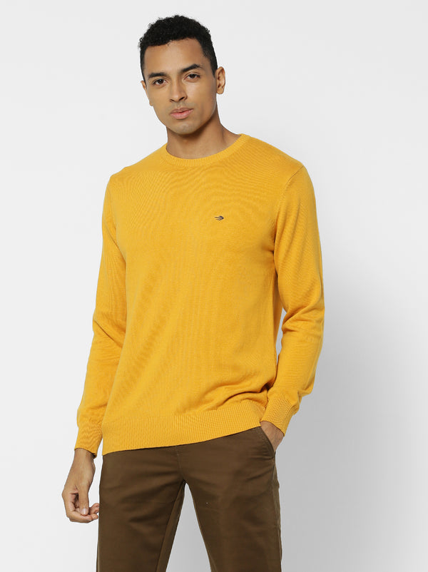 Yellow Plain Crew Neck Sweater