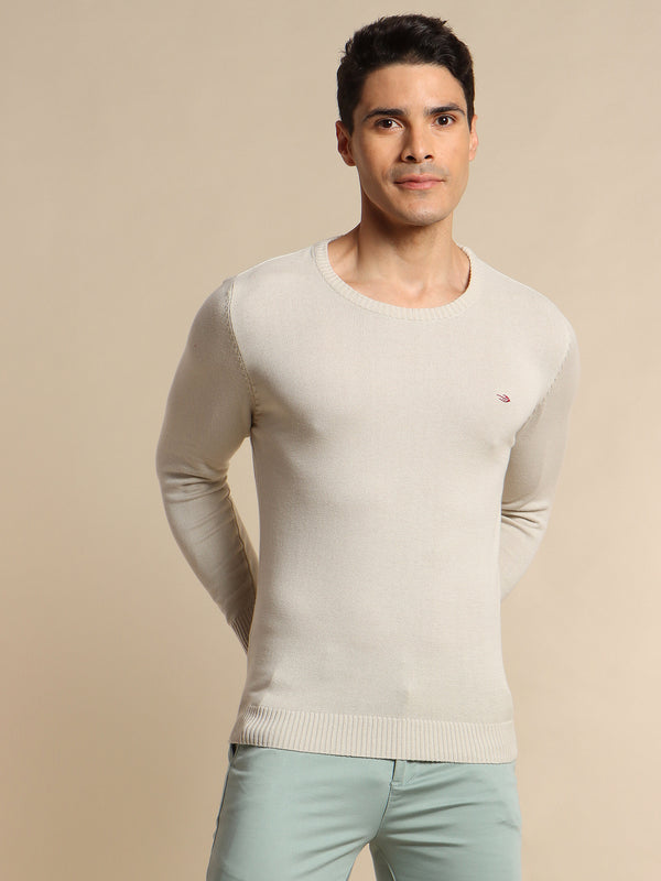 Cream Plain Crew Neck Sweater