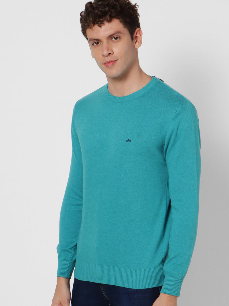 Green Plain Crew Neck Sweater