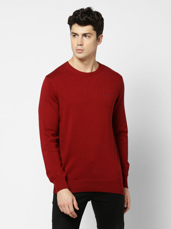 Maroon Plain Crew Neck Sweater