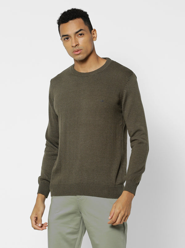 Olive Plain Crew Neck Sweater