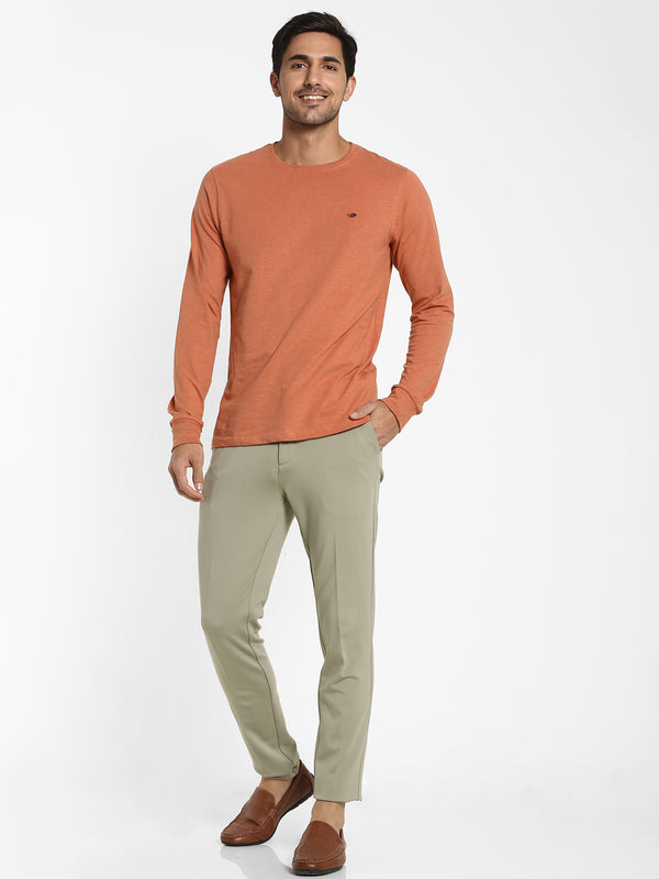 Rust Melange Plain T-shirt
