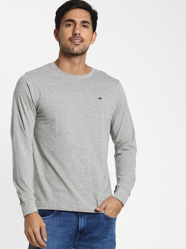 Grey Melange Printed T-shirt