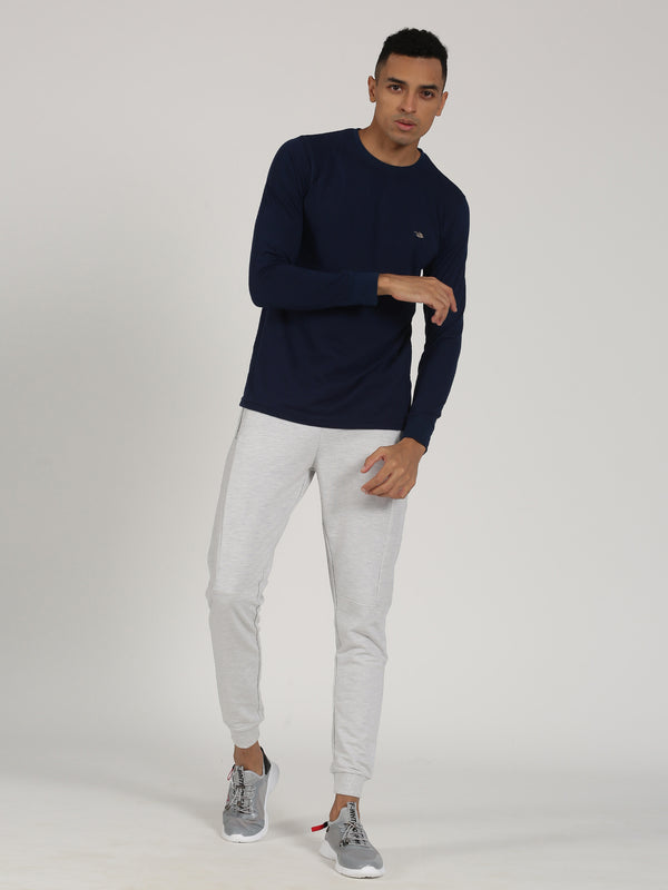 Navy Printed Long Sleeve Casual T-Shirt
