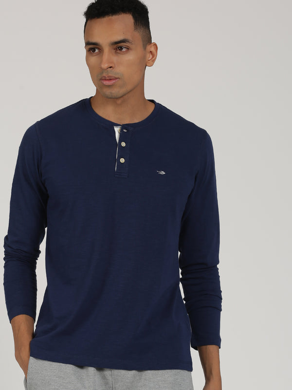 Navy Plain Long Sleeve Casual T-Shirt