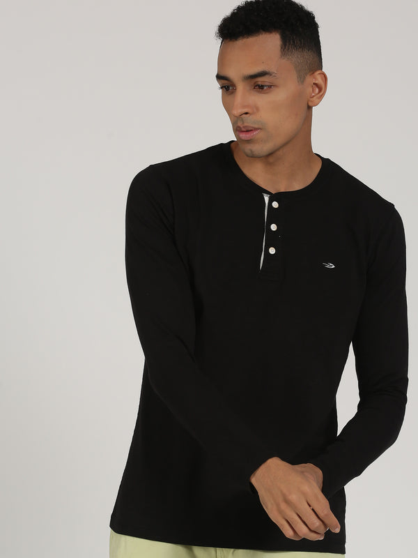 Black Plain Long Sleeve Casual T-Shirt