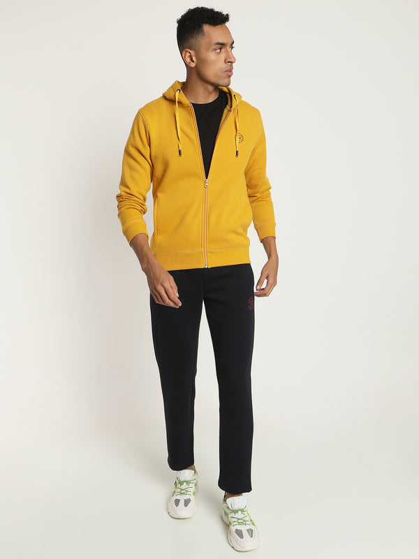 Yellow Plain Zipped Sweatshirt