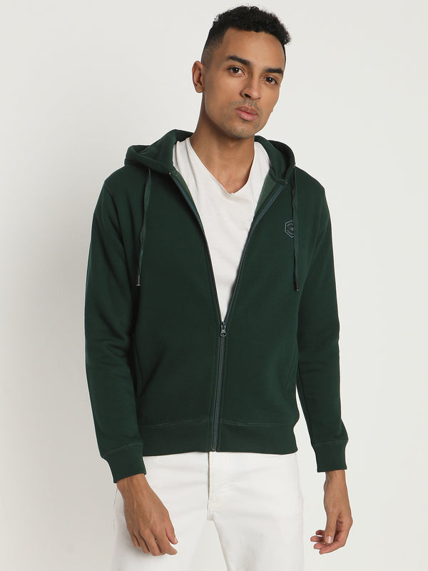 Dark Green Plain Zipped Sweatshirt