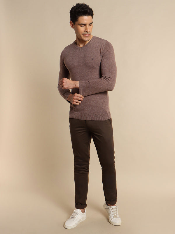 Khaki Plain V-Neck Sweater