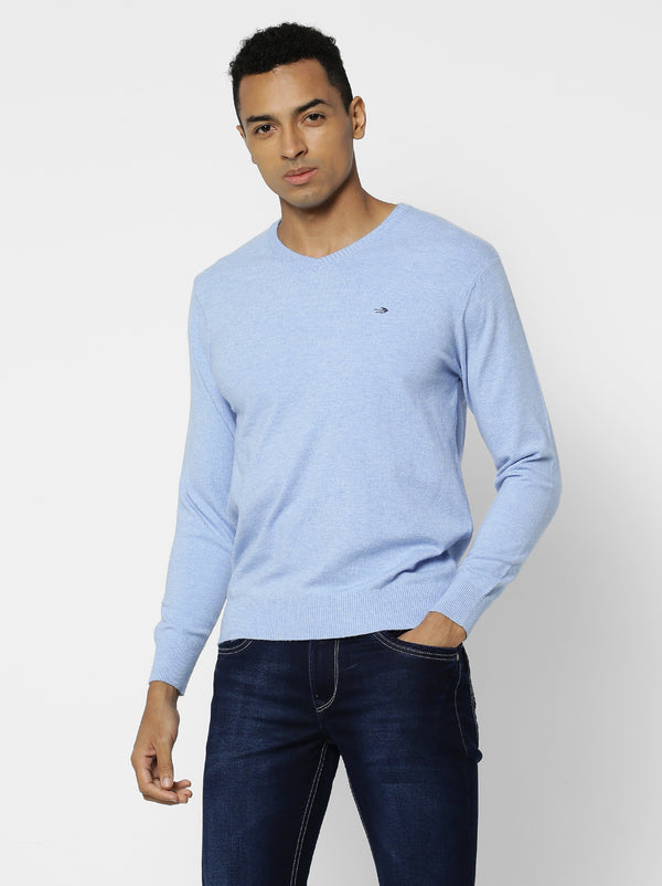 Blue Plain V-Neck Sweater
