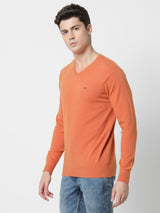 Orange Plain V-Neck Sweater