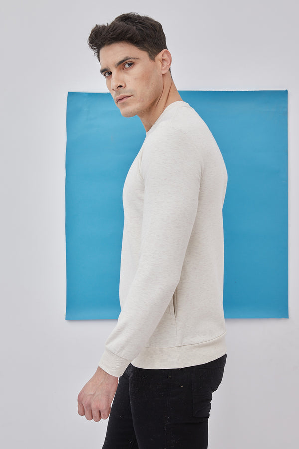 Beige Plain Crew Neck Sweatshirt
