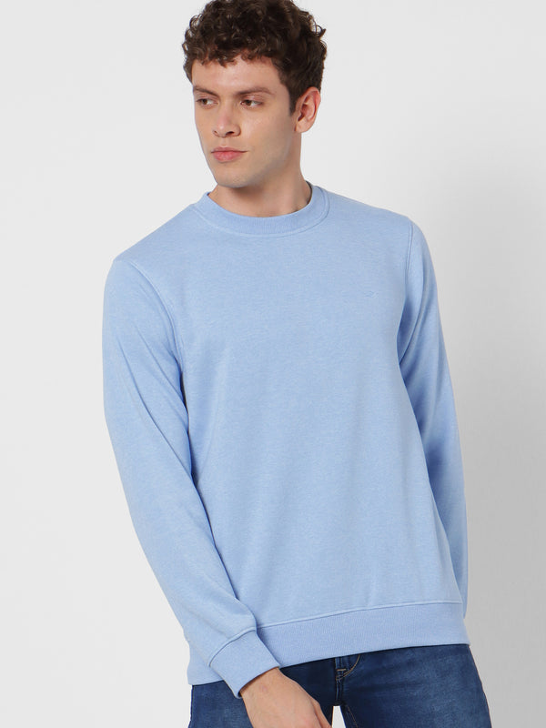 Blue Plain Crew Neck Sweatshirt