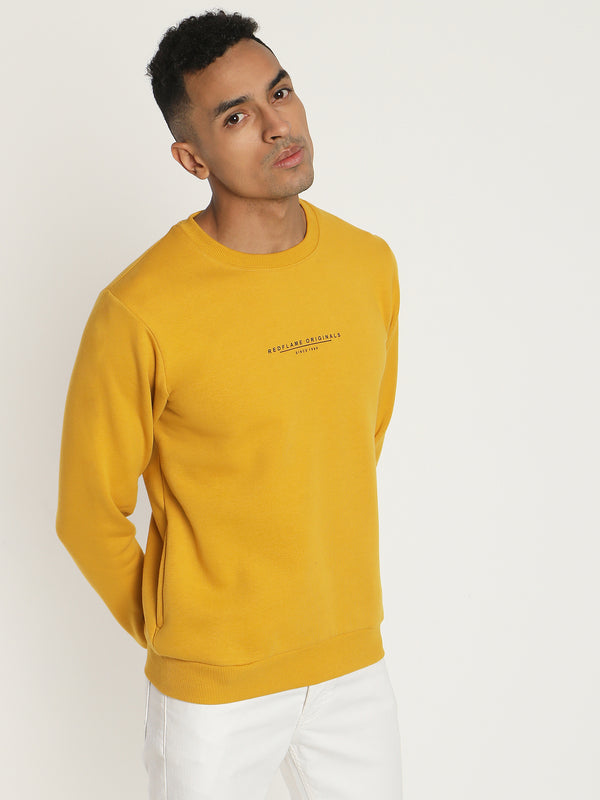 Yellow Plain Crew Neck Sweatshirt