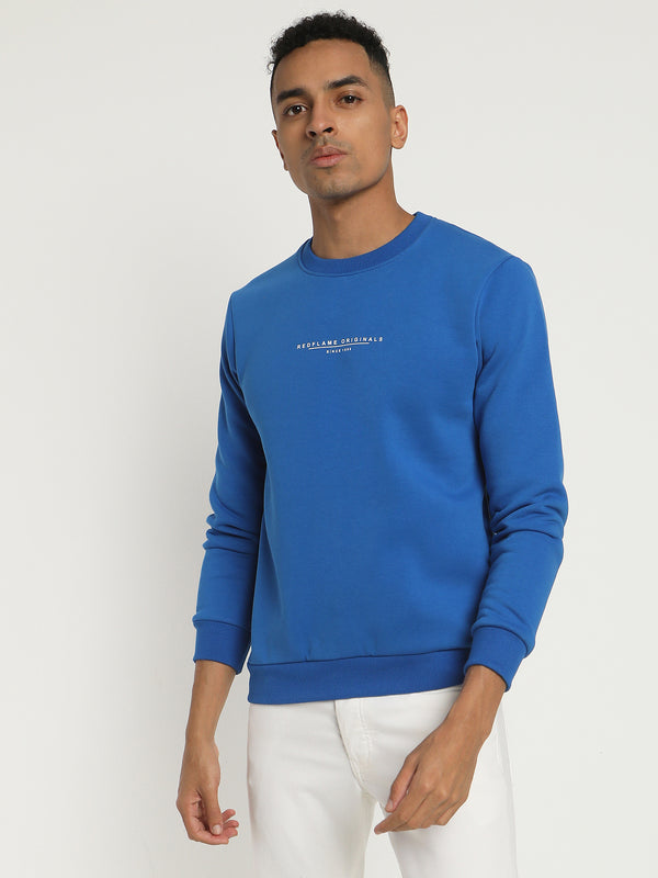Royal Blue Plain Crew Neck Sweatshirt