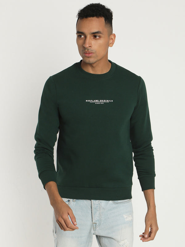 Dark Green Plain Crew Neck Sweatshirt