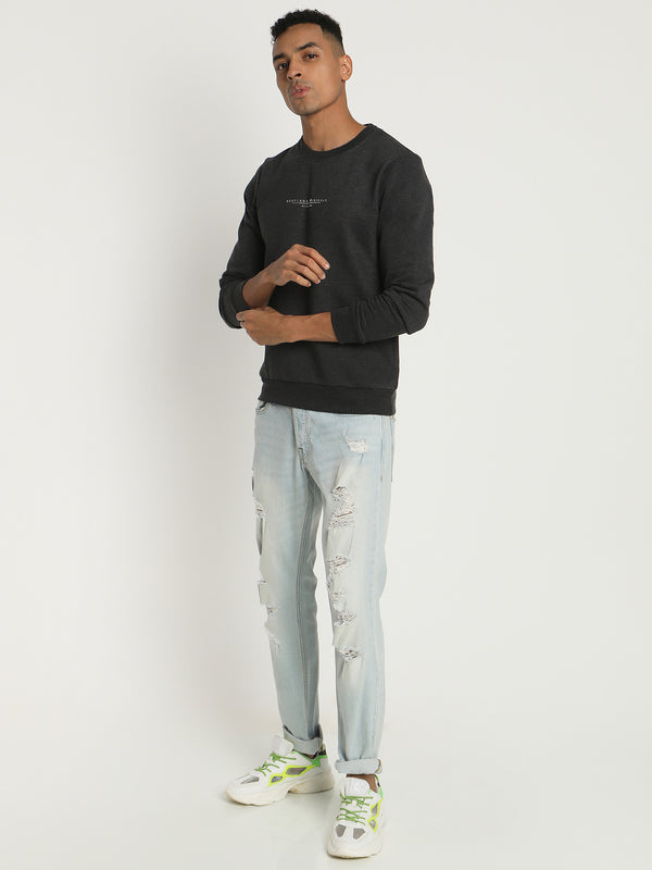 Anthra Melange Plain Crew Neck Sweatshirt