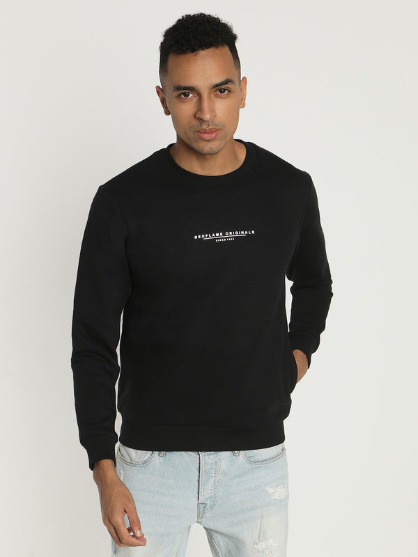 Black Plain Crew Neck Sweatshirt
