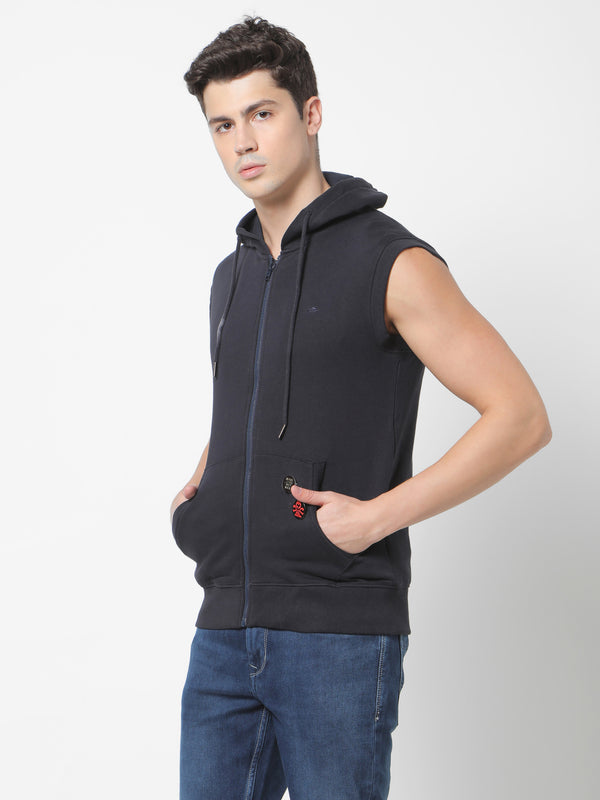 Navy Plain Hooded Sleeveless Sweatshirt