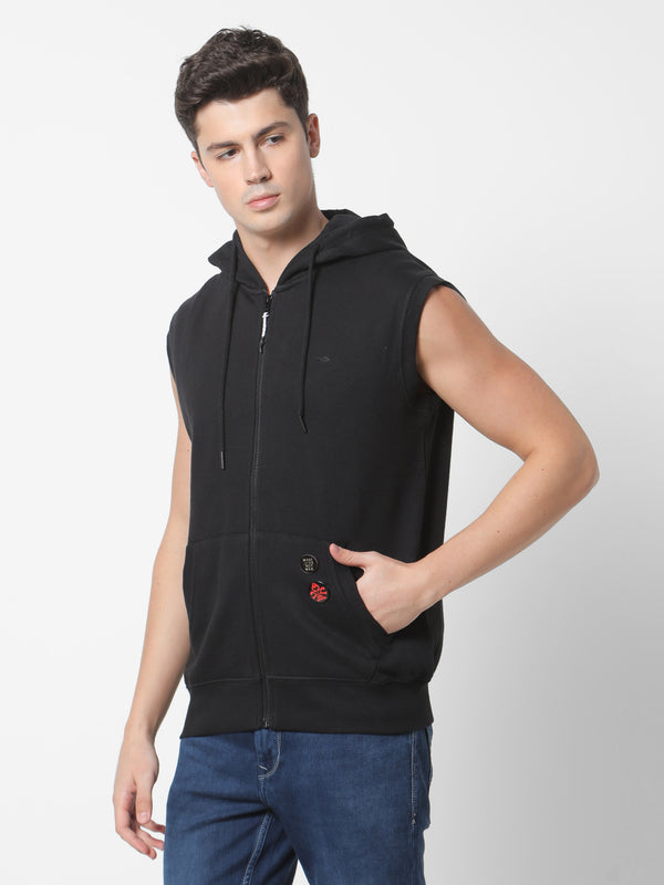 Black Plain Hooded Sleeveless Sweatshirt
