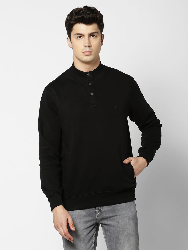 Black Plain Casual Sweatshirt