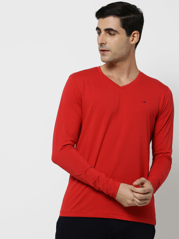 Red Plain Stretch Basic T-Shirt
