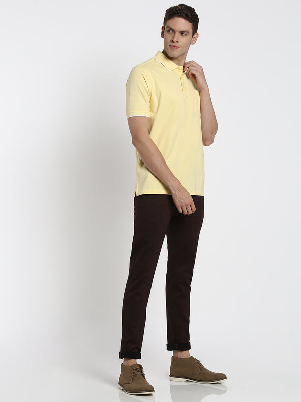Yellow Plain Polo T-Shirt