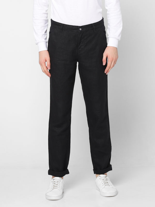 Black Linens Plain Lean Fit Trouser