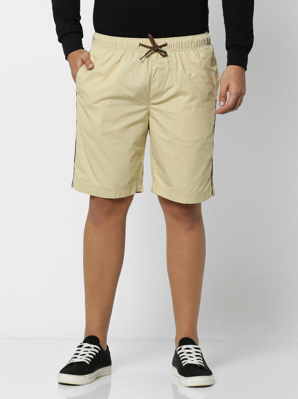 Cream Plain Shorts