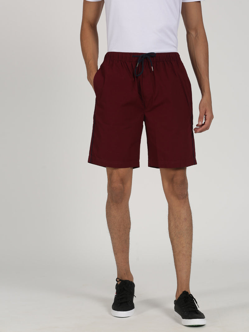 Maroon Plain Casual Short