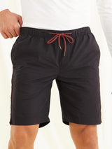 Black Plain Casual Short