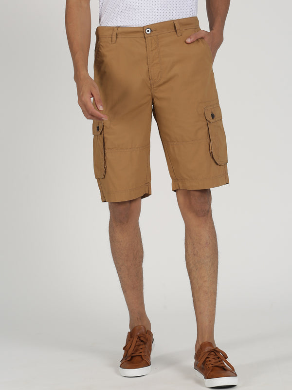 Beige Plain Casual Cargo Short