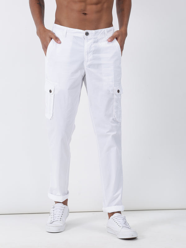 White Plain Lean Fit Cargo Trouser