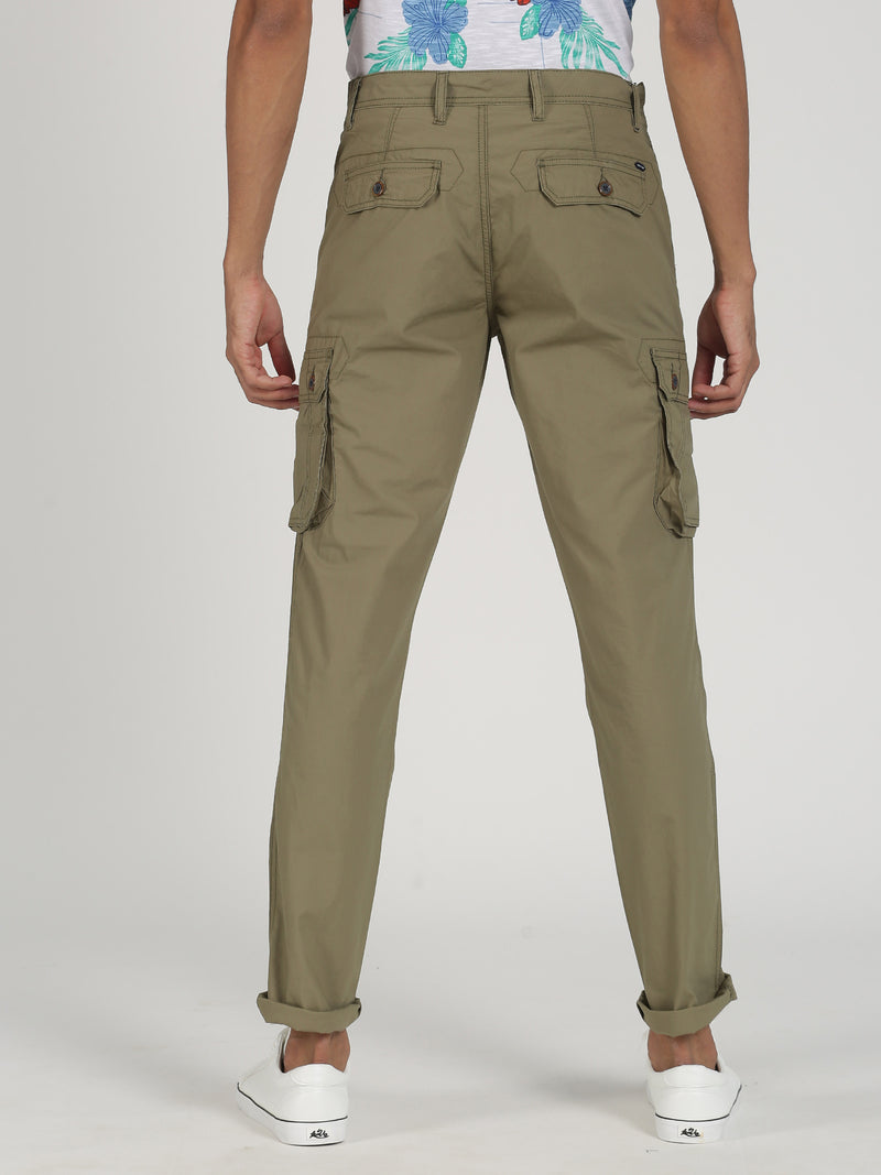 Light Olive Plain Lean Fit Cargo Trouser