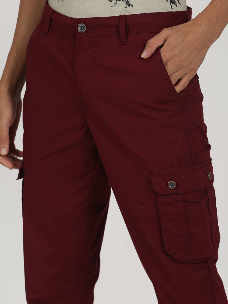 Maroon Plain Lean Fit Cargo Trouser