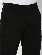 Black  Plain Stretch Lean Fit Trouser