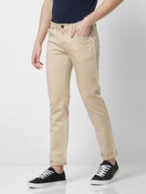 Cream Plain Stretch Lean Fit Trouser