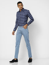 Blue Plain Stretch Lean Fit Trouser