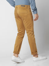 Khaki Plain Stretch Lean Fit Trouser