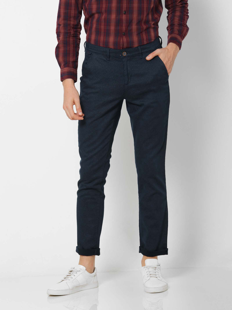 Navy  Printed Stretch Lean Fit Trouser